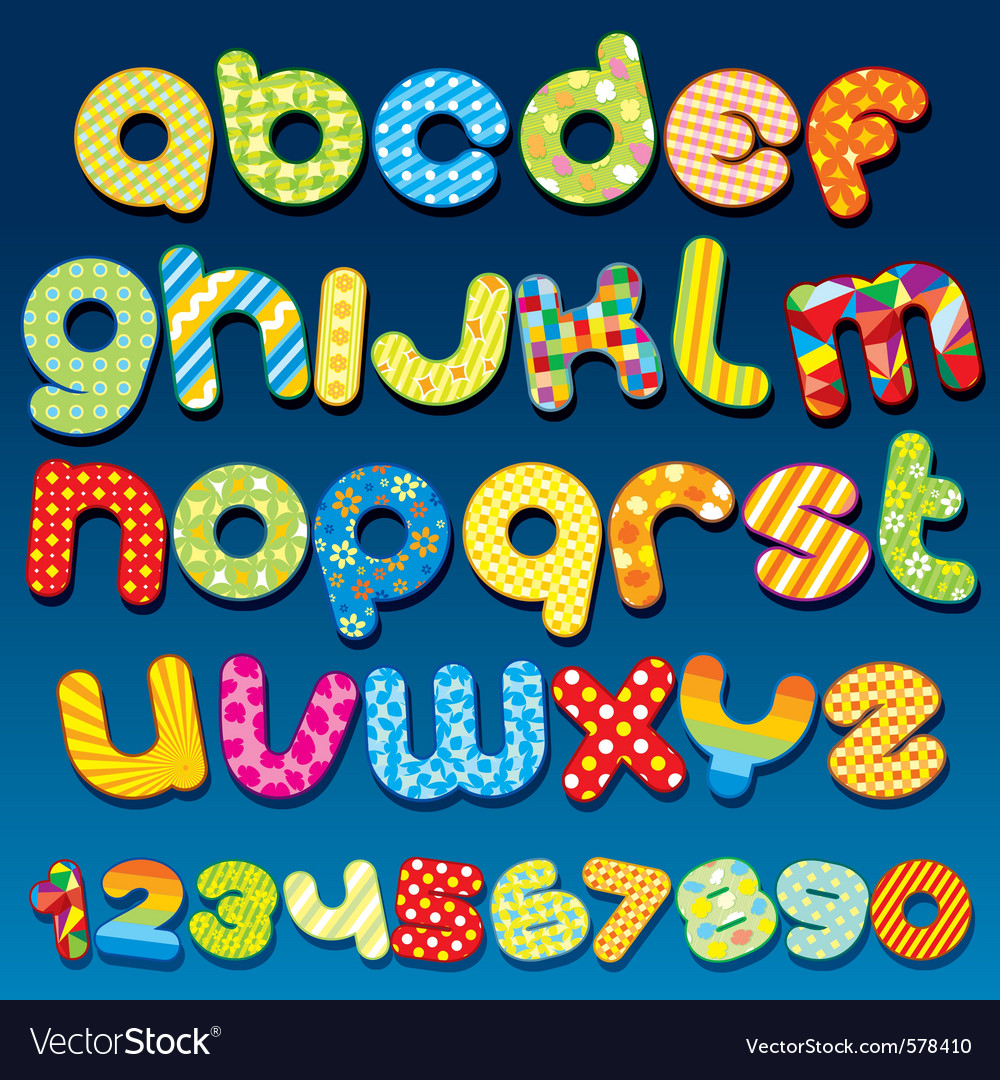 Motley colorful cartoon font vector