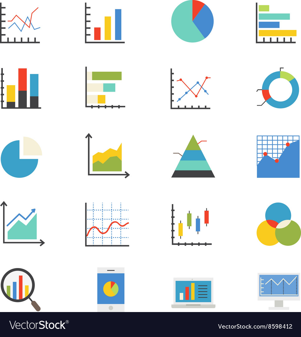 Business chart and graph flat icons color vector
