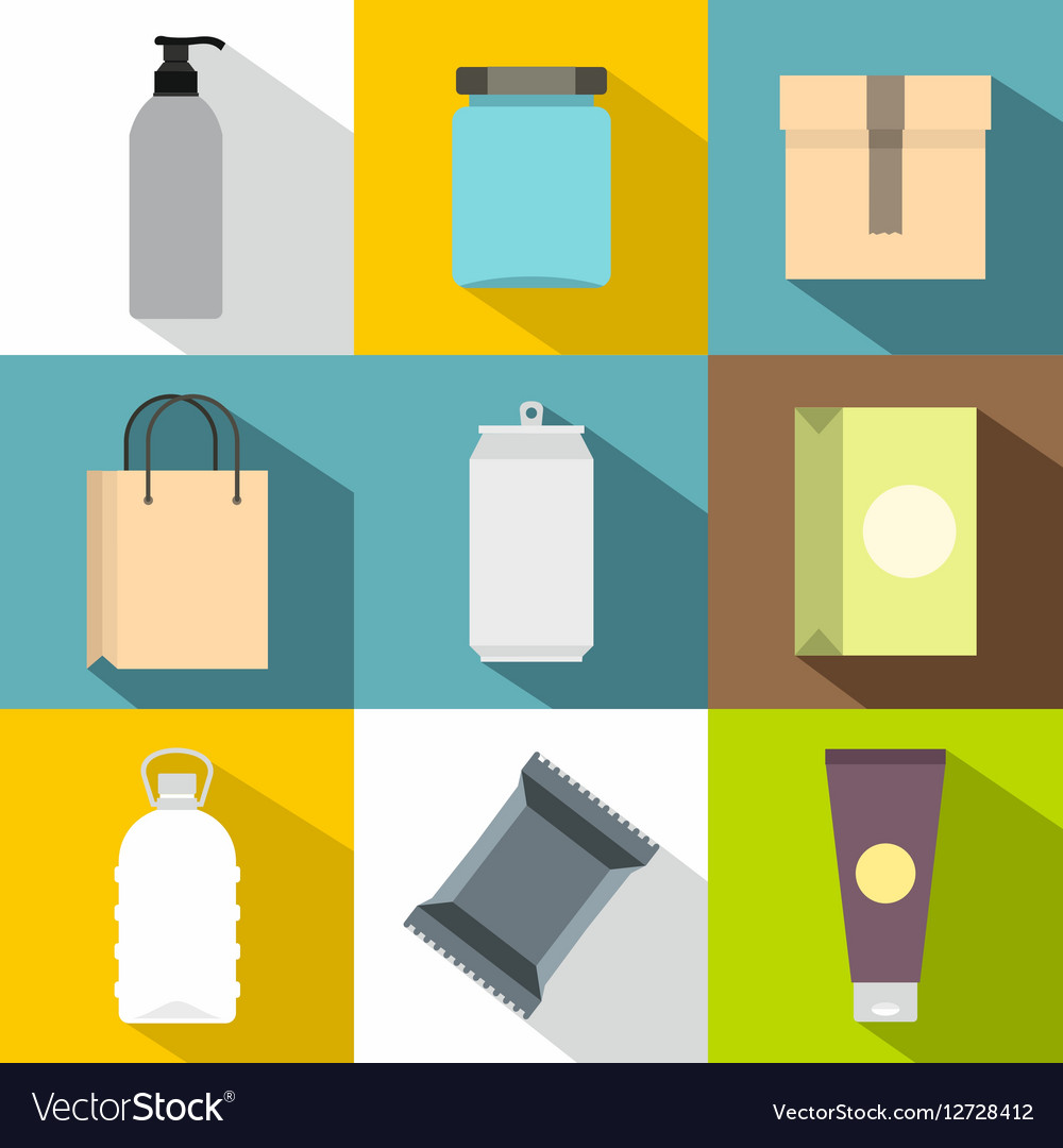 Package icons set flat style vector