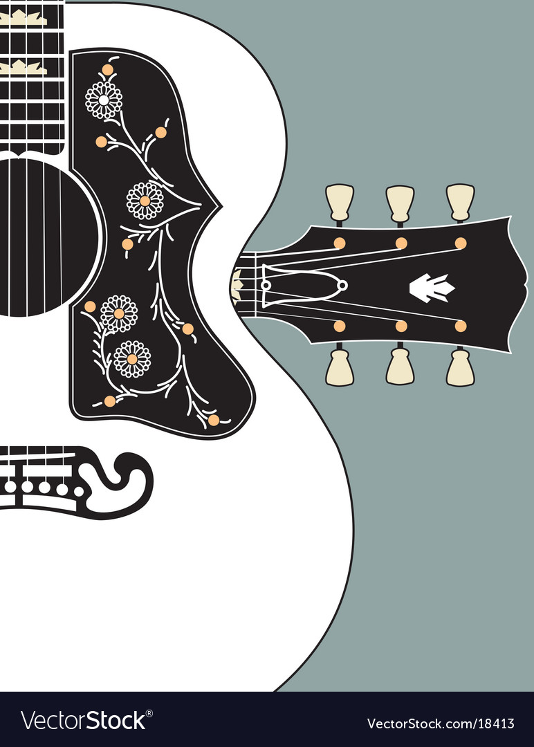 Acoustic guitarbgwheadstock vector