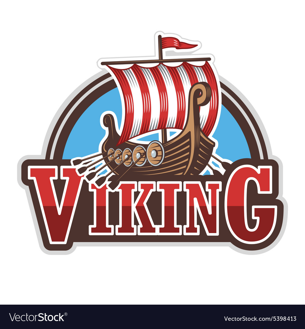 Viking ship sport logo vector