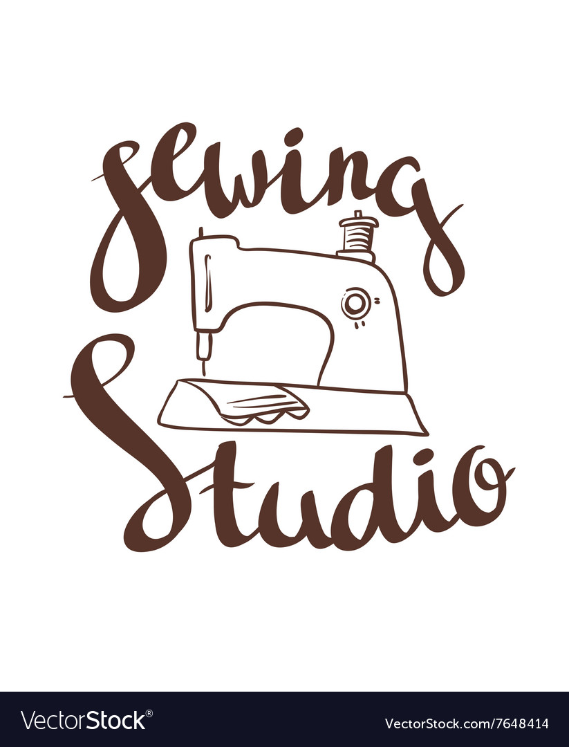 Hand drawn typography poster with sewing machine vector
