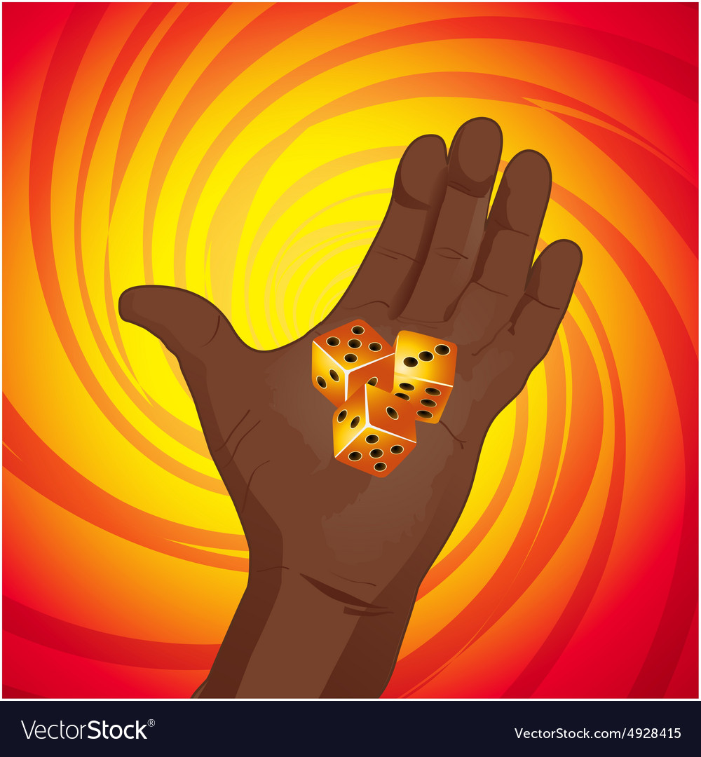 Hand with dices on yellow and red background vector