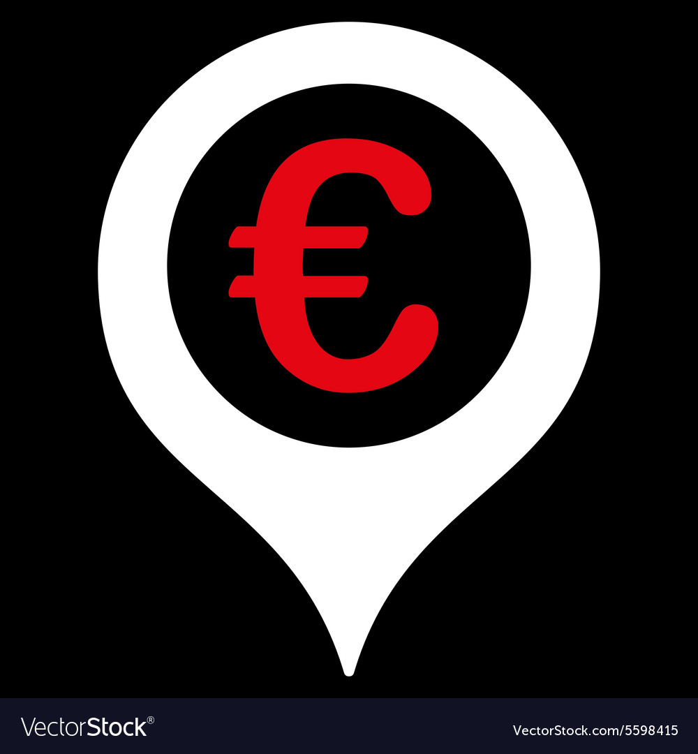 Map marker icon from bicolor euro banking set vector