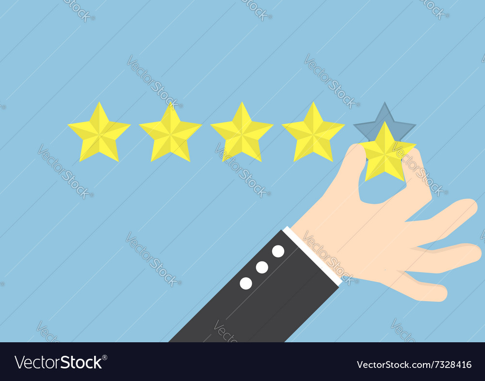 Businessman hand giving five star rating feedback vector