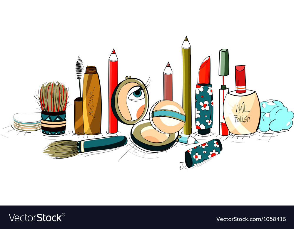 Makeup collection colorful drawing vector