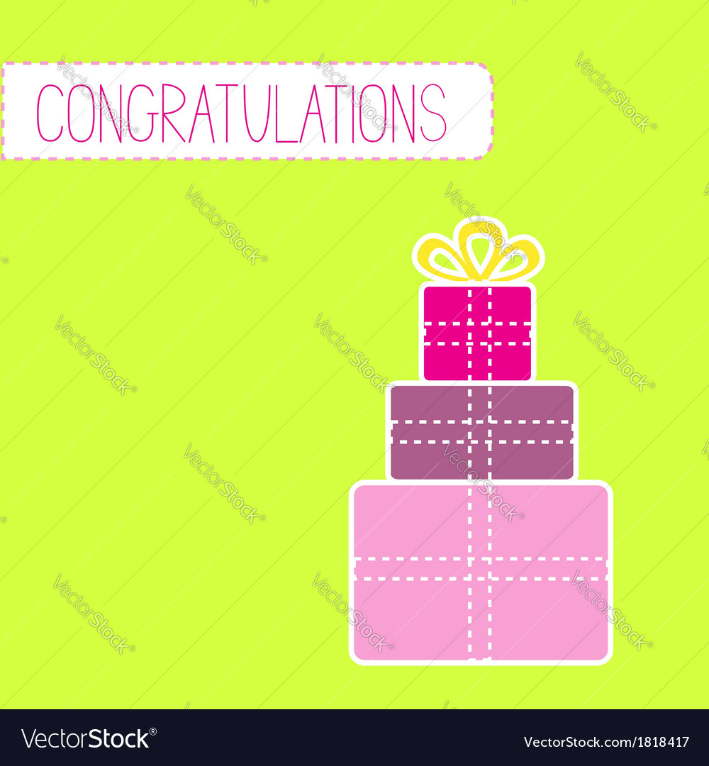 Congratulations card with gift boxes green vector