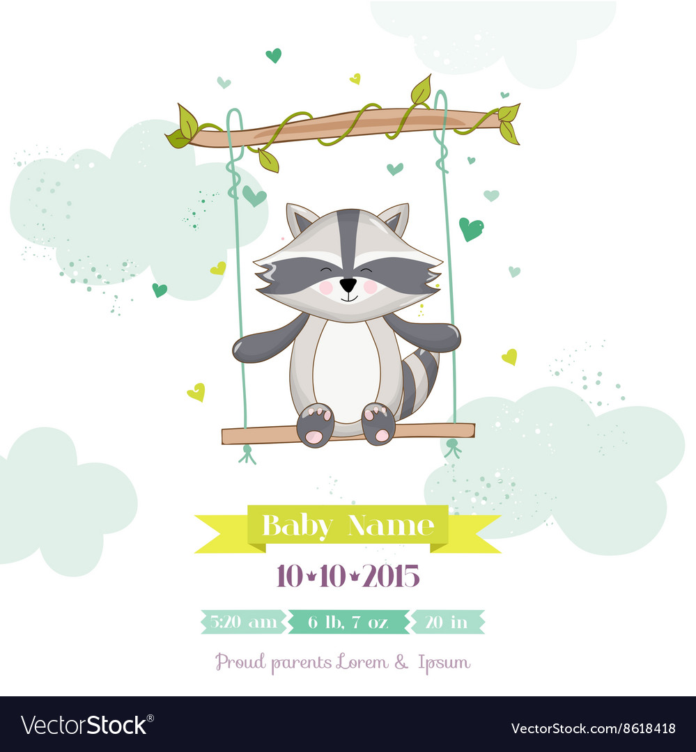 Baby shower or arrival card  baby racoon vector