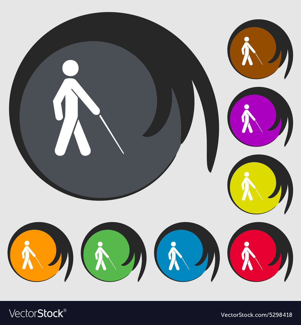 Blind icon sign symbol on eight colored buttons vector