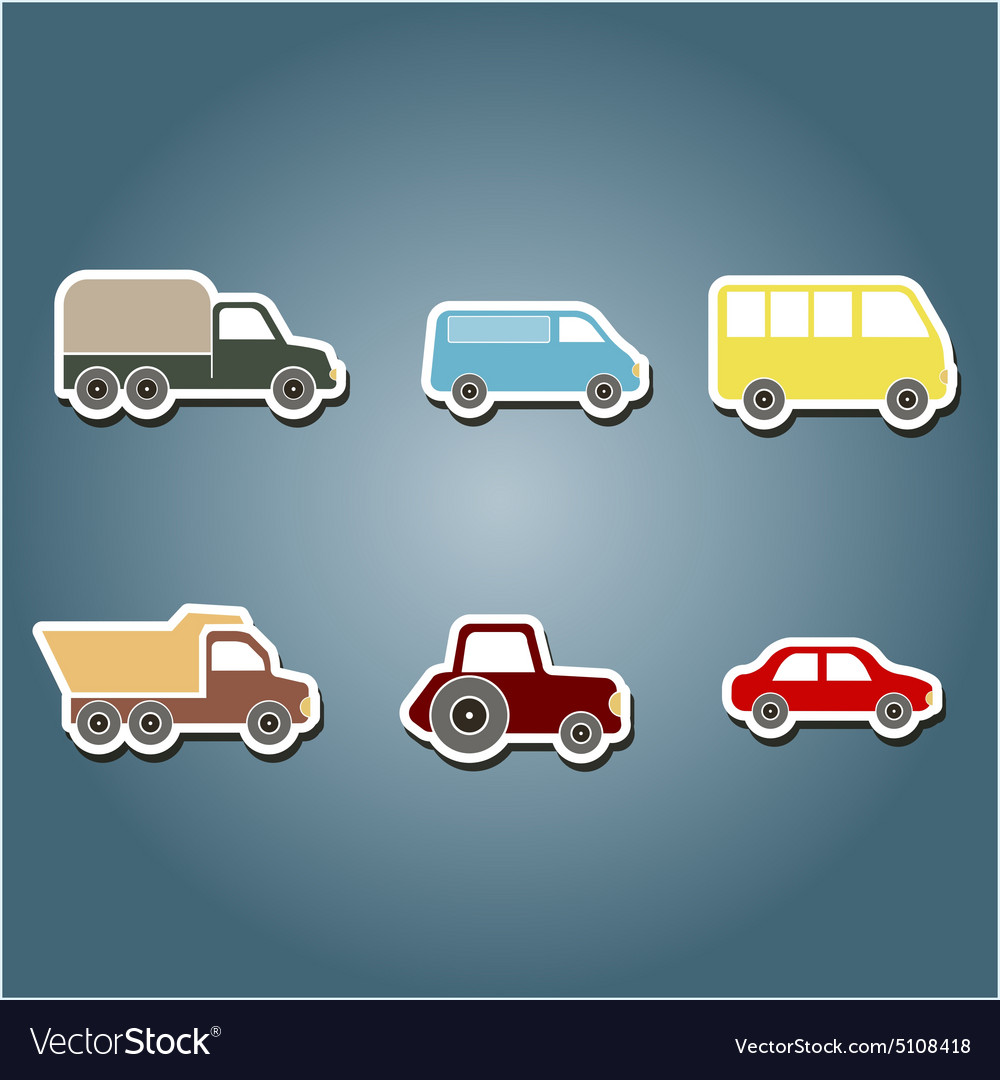 Color icons with car icons vector