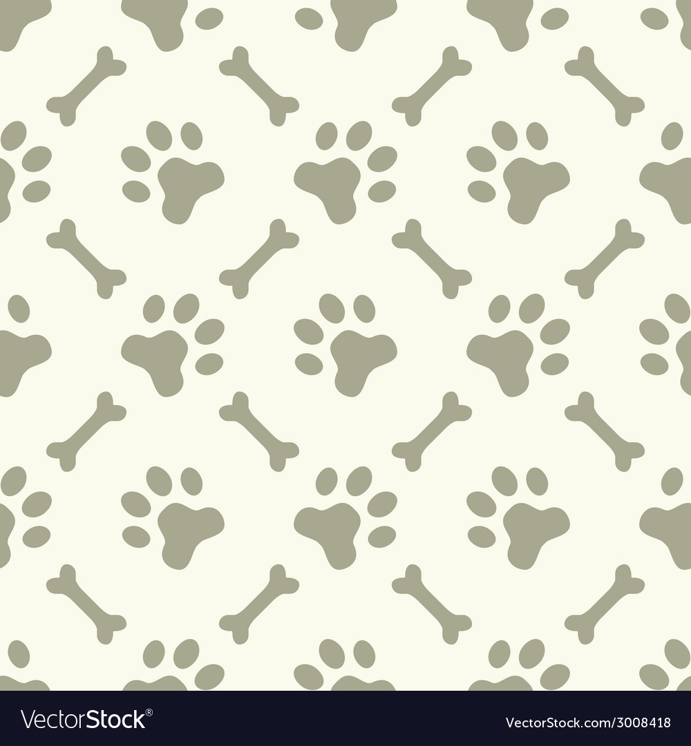 Dog paw footprint seamless pattern vector