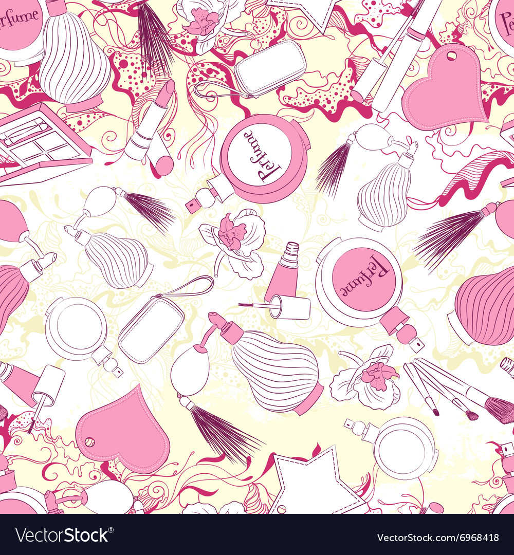 Seamless pattern with perfumes and fashion vector