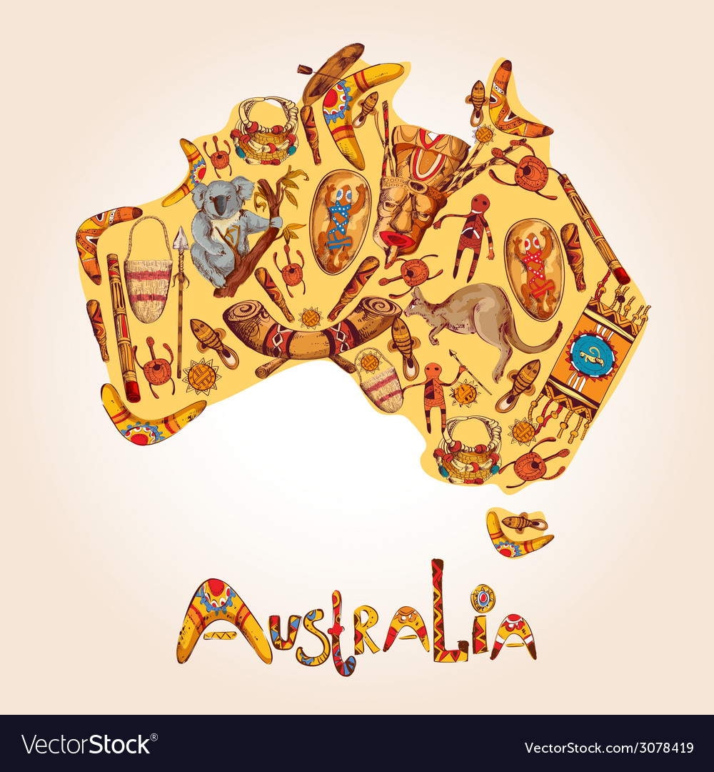 Australia sketch colored background vector