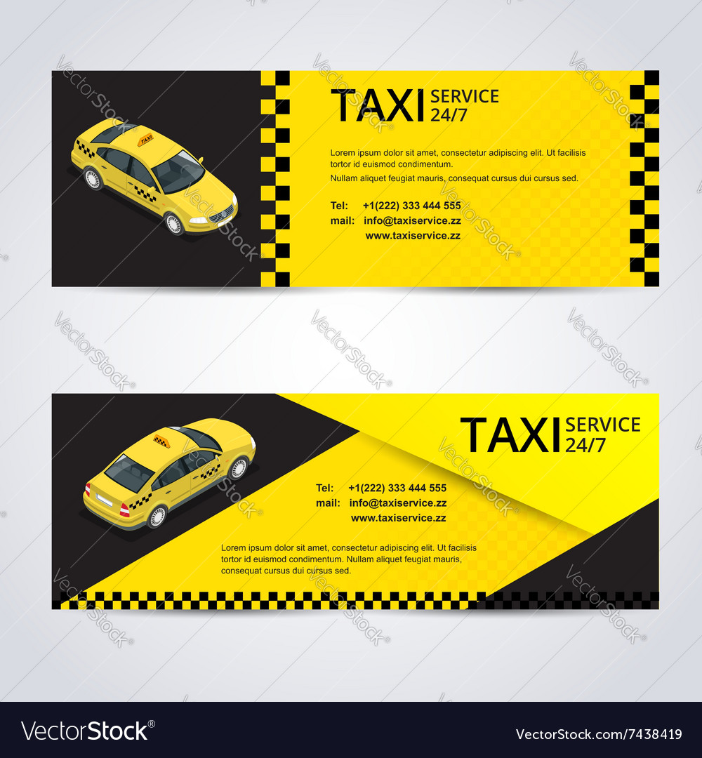 Black and yellow taxi card with taxi car image  vector