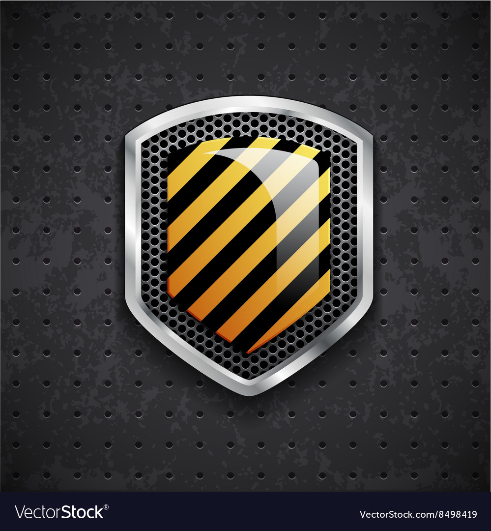 Danger metal shield with black grille vector