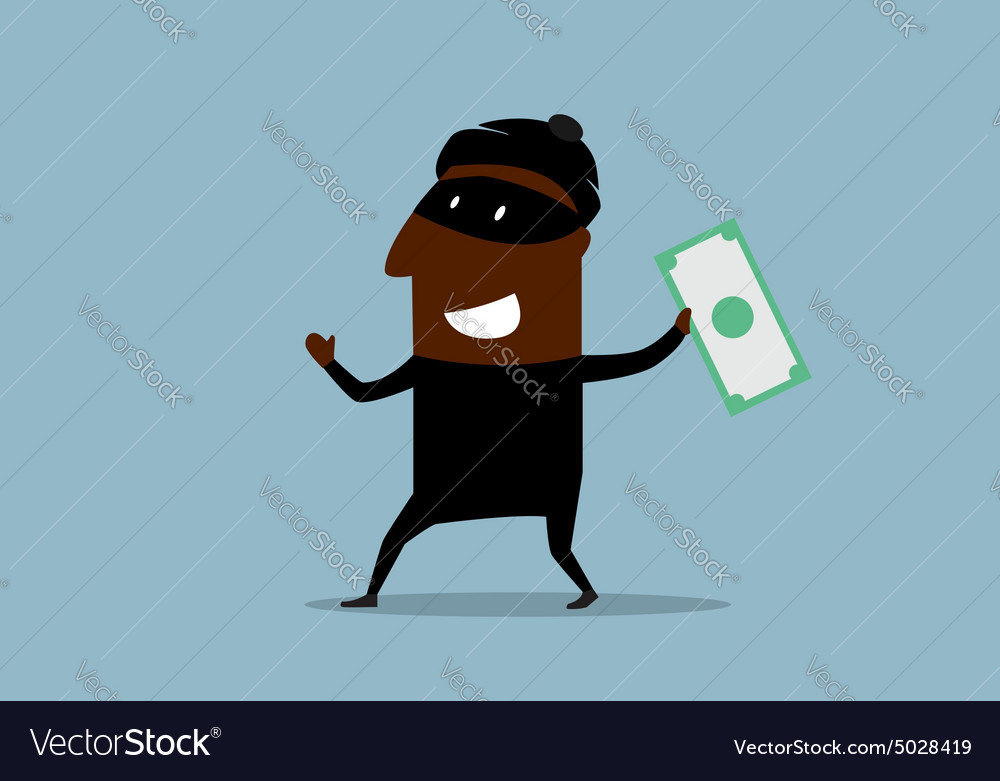 Happy thief with stolen dollar bill vector