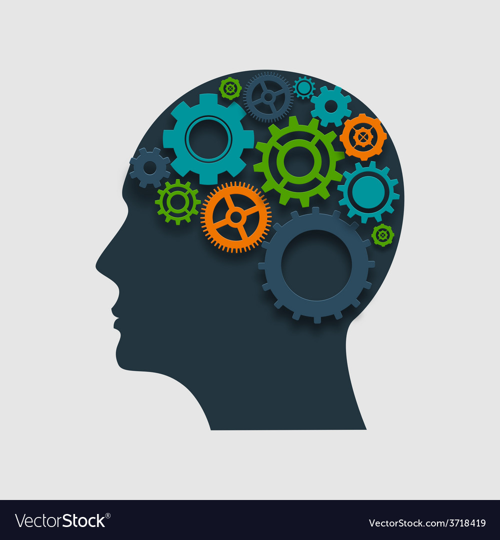 Head profile with gears vector
