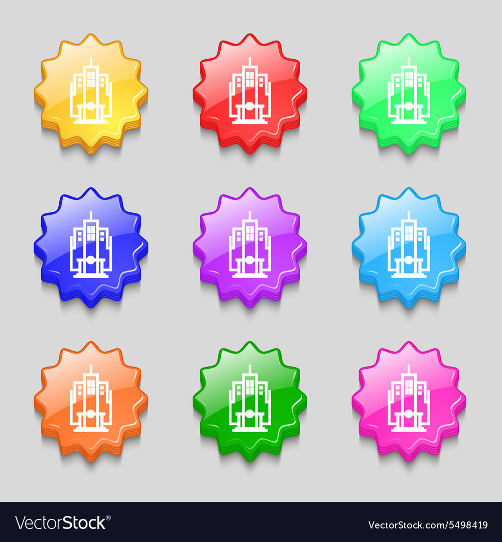 Skyscraper icon sign symbol on nine wavy colourful vector
