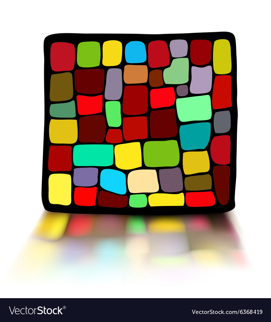 Stained glass in a black frame vector