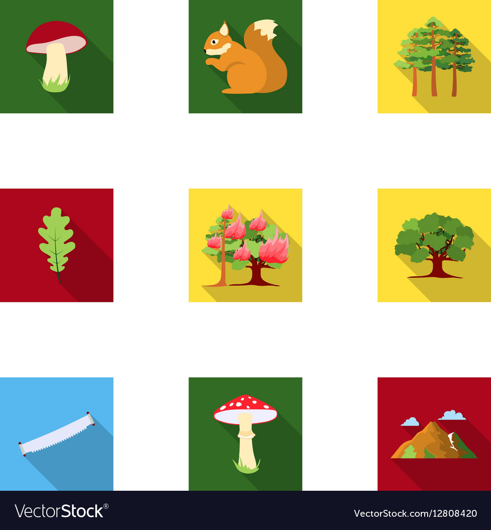 Forest set icons in flat style big collection of vector