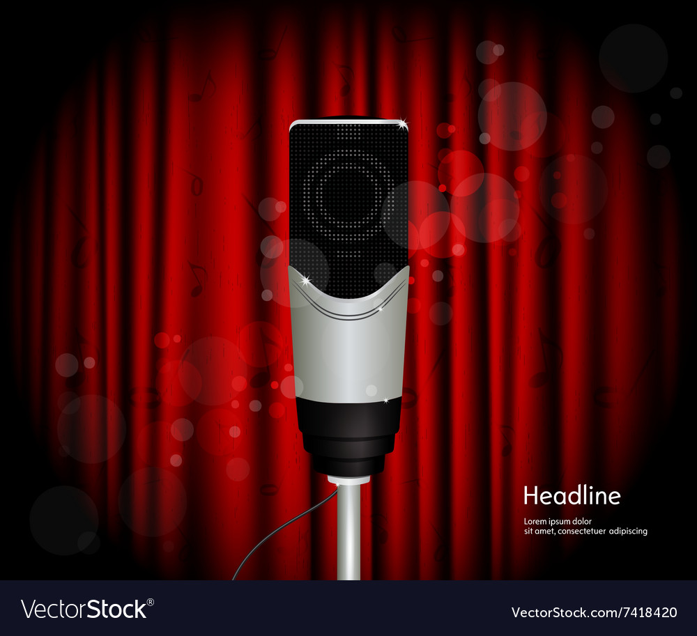 Microphone against curtain backdrop vector