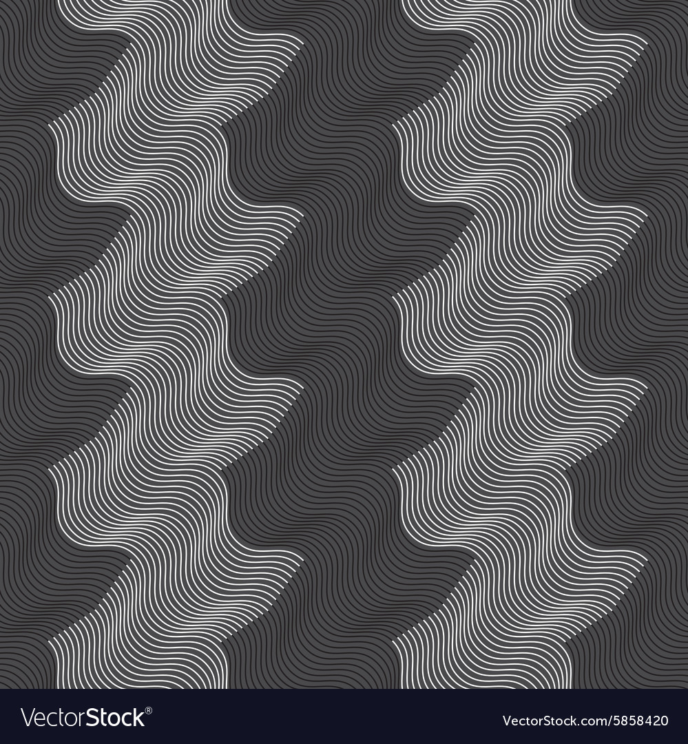Repeating ornament vertical white and black waves vector