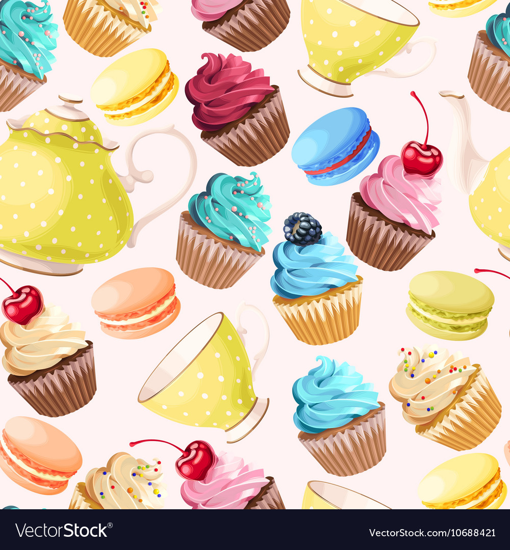 Teaparty seamless background vector