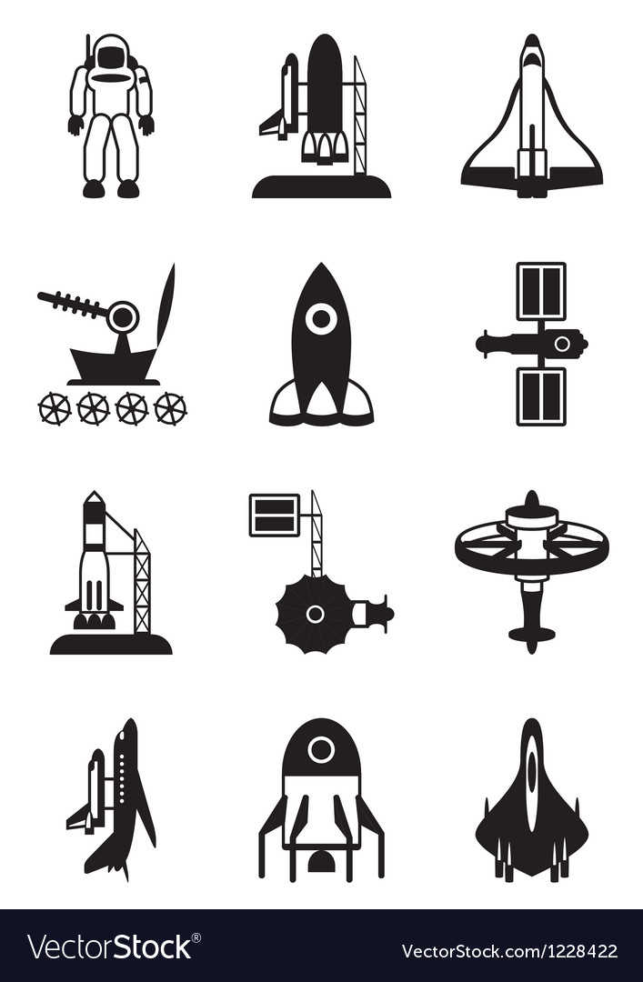 Astronaut space shuttle and spaceship vector