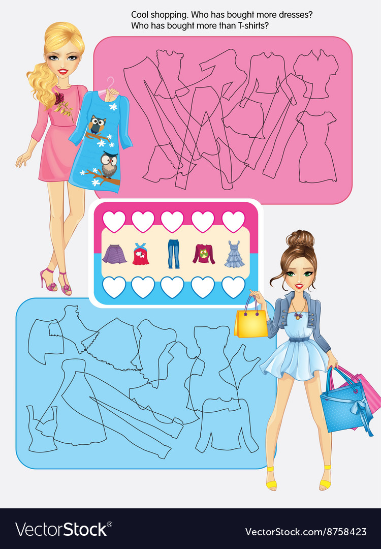 Activity page of cool shopping vector
