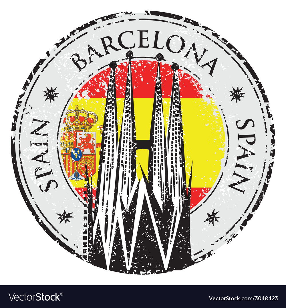 Grunge rubber stamp of barcelona spain vector