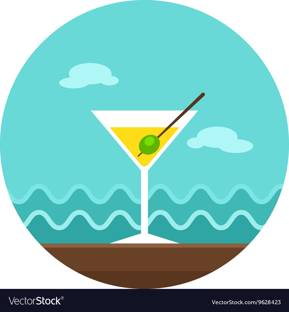 Martini cocktail icon summer vacation vector