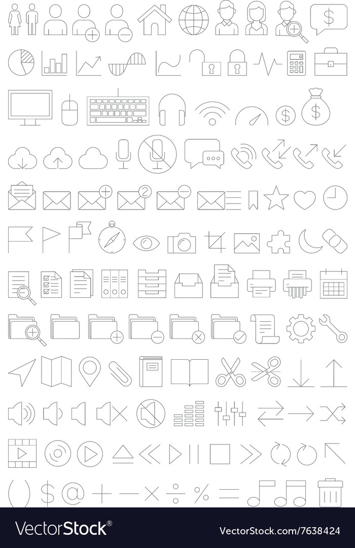 Web icons set line thin style vector