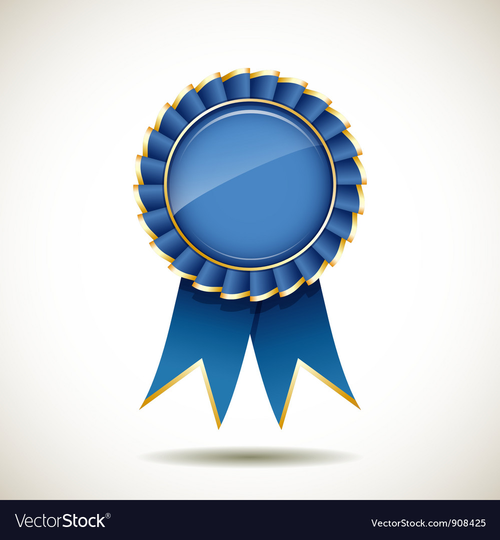 Blue and gold ribbons award vector