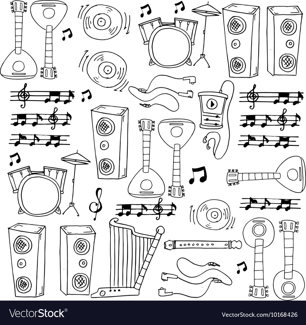 Hand draw music tools in doodle vector