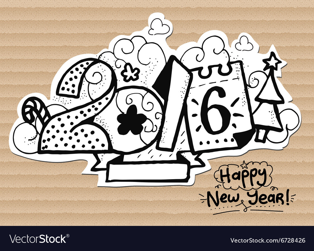 Happy new year 2016 font on vector