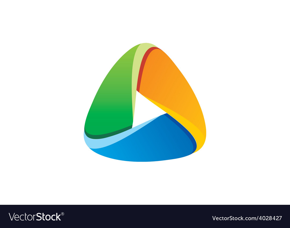 3d triangle social media abstract logo vector