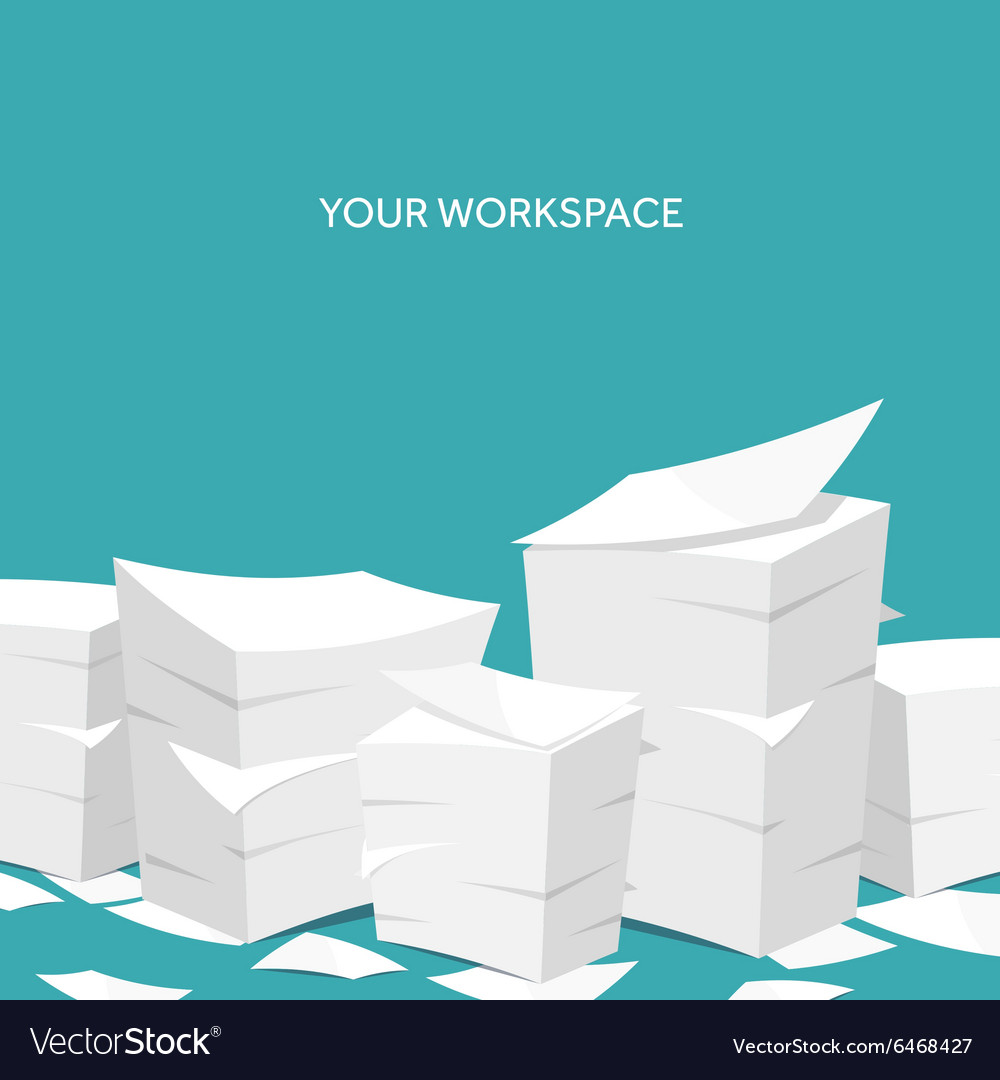 Flat background paperwork vector