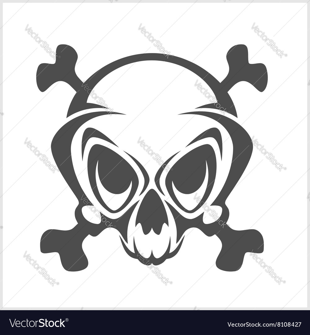 Pirate emblem  jolly roger skull and cross vector