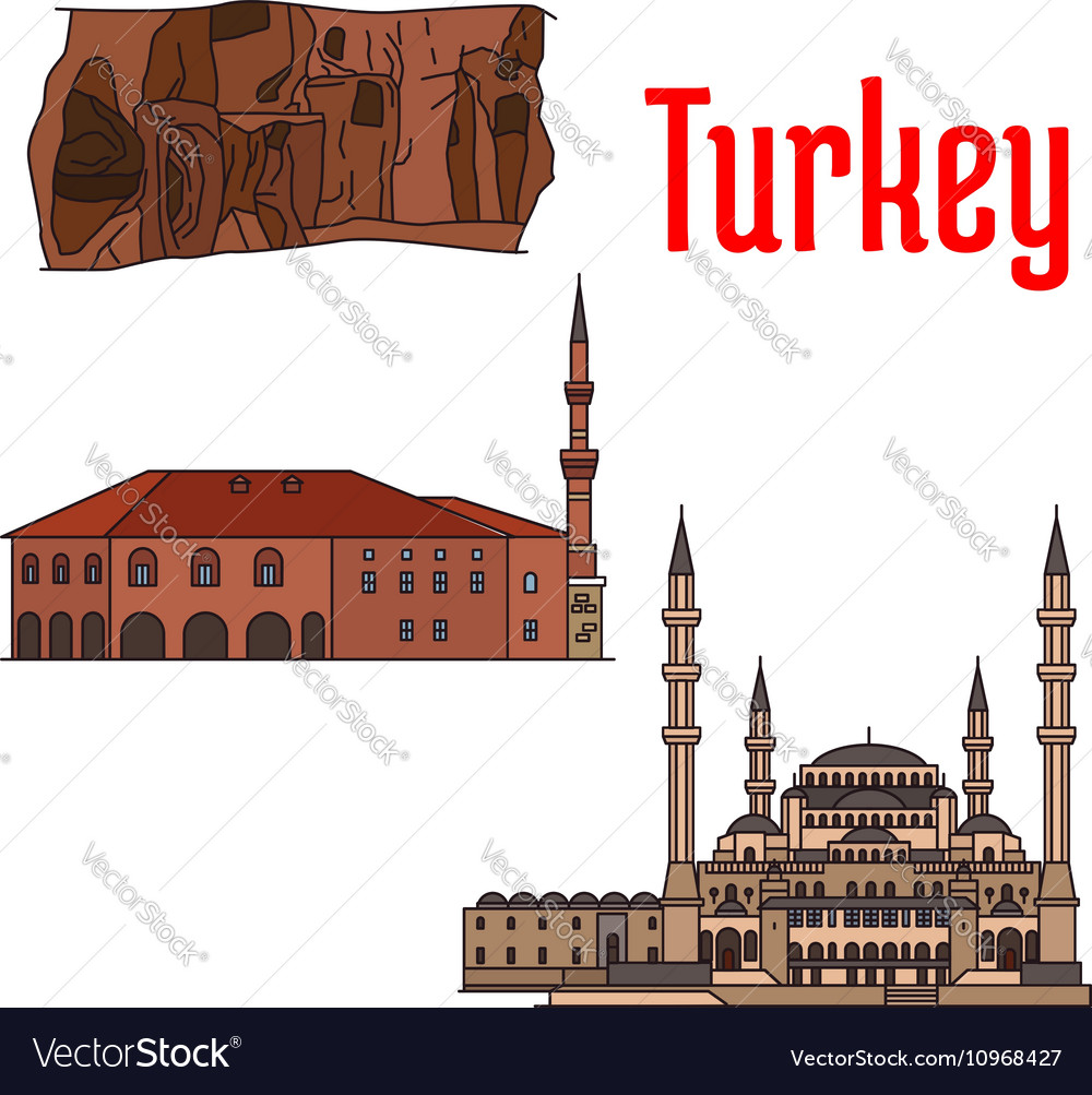 Turkey historic architecture and sightseeings vector