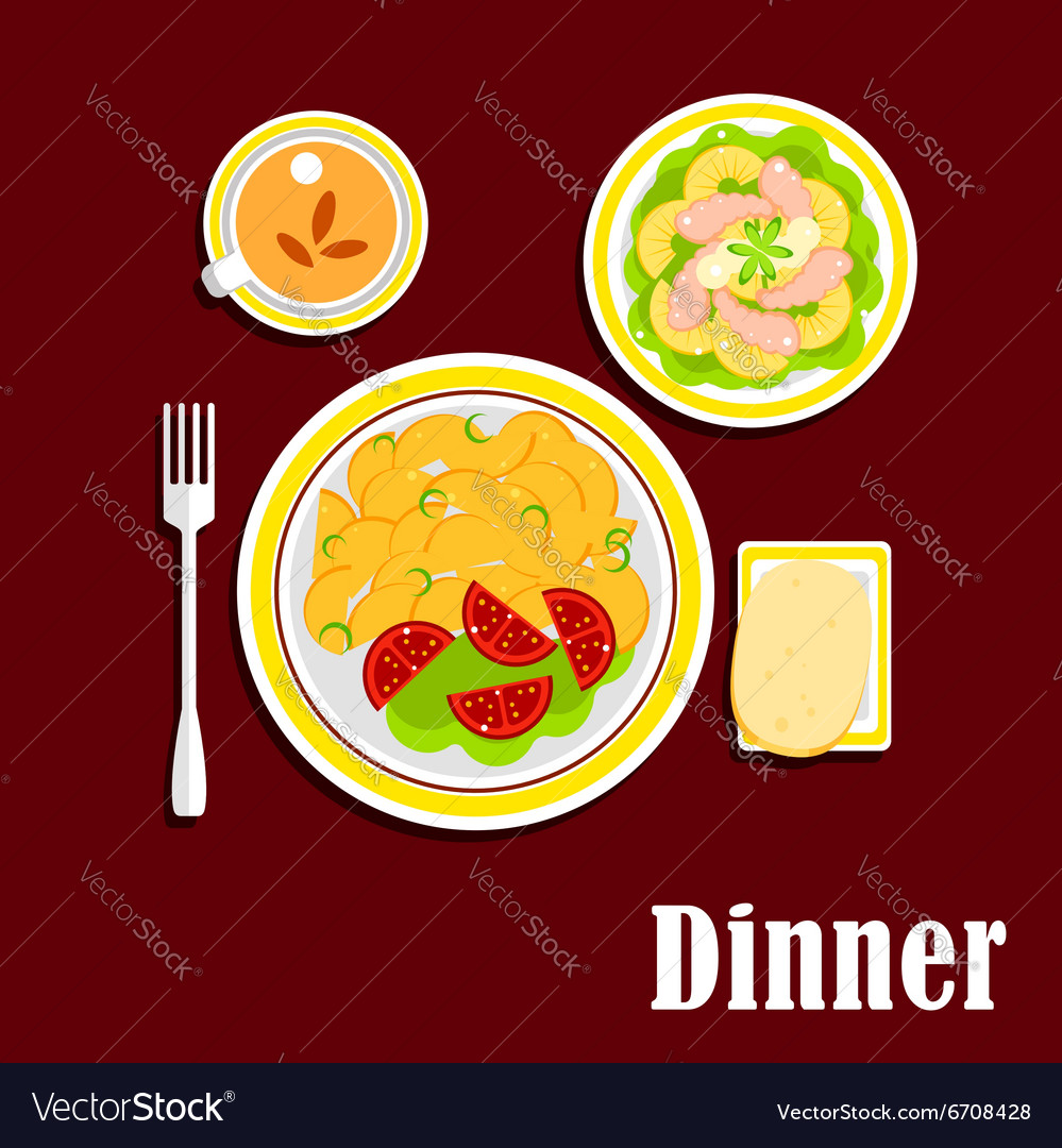Dinner with fried potato shrimp salad and tea cup vector