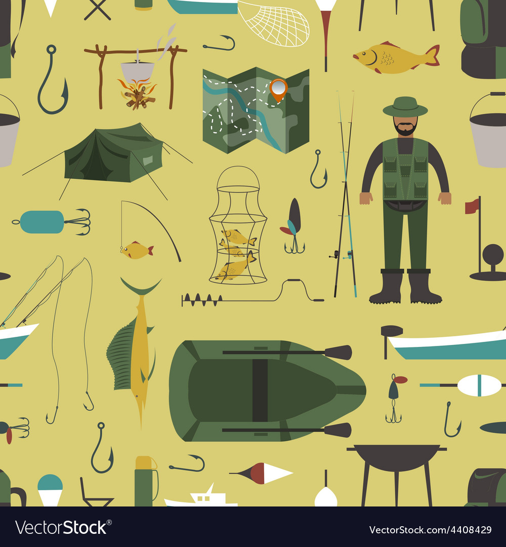 Fishing seamless pattern fishing design elements vector