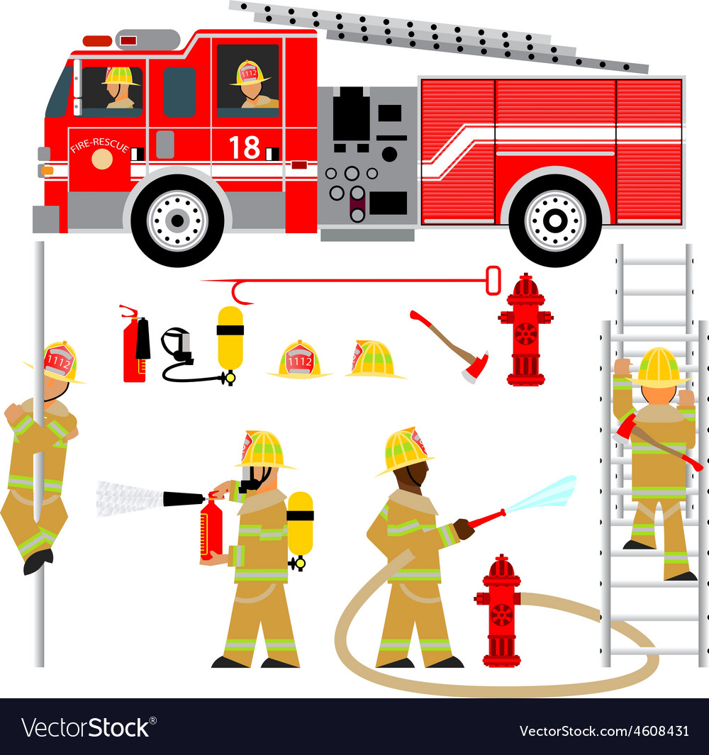 Fire truck and fireman yellow 2 vector