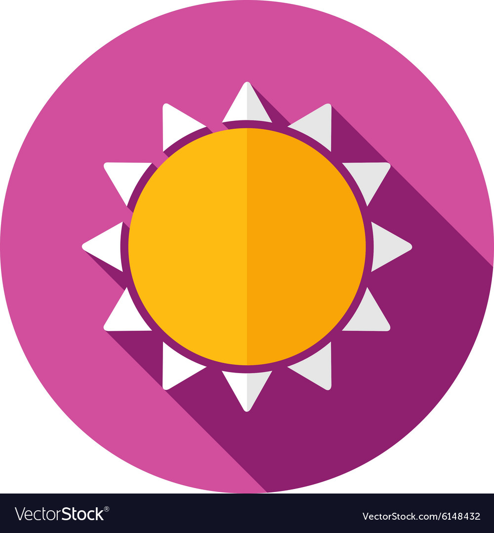 Sun flat icon with long shadow vector