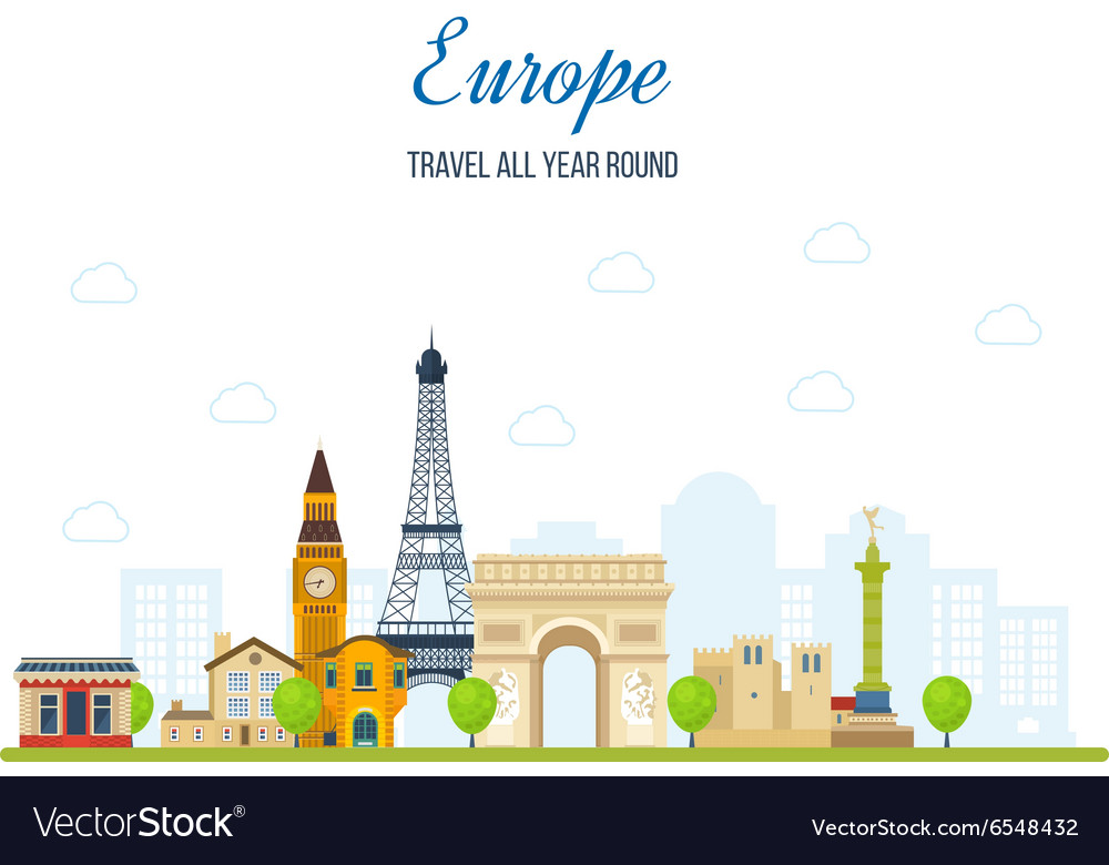 Travel to europe french and england landmarks vector