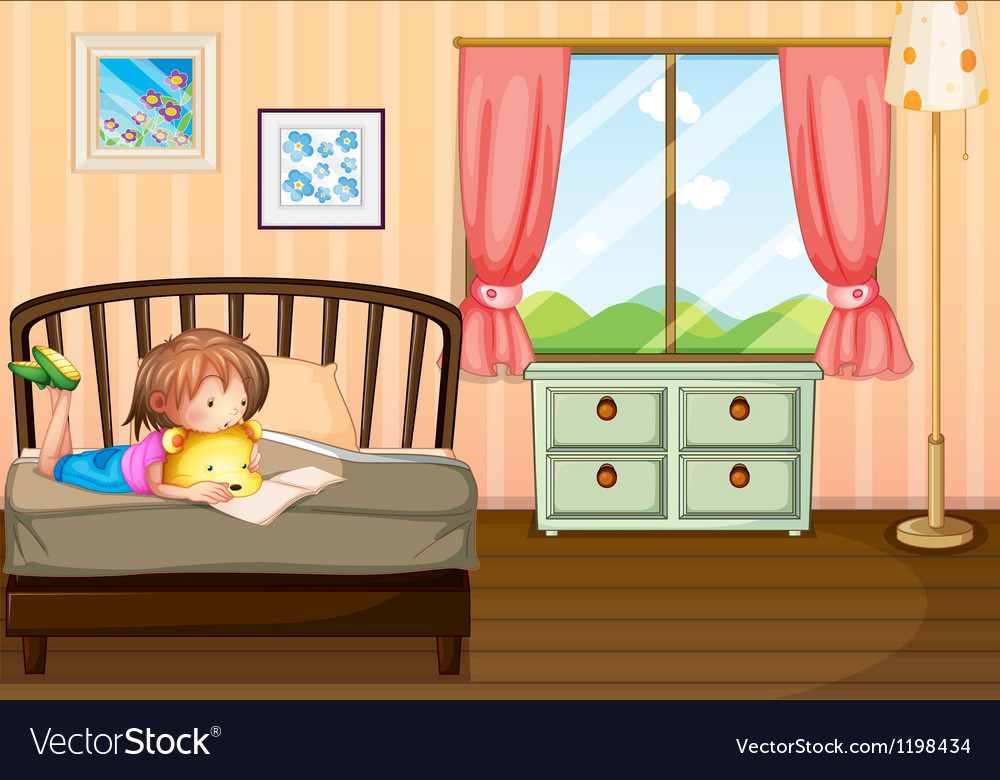 A child studying inside her room vector