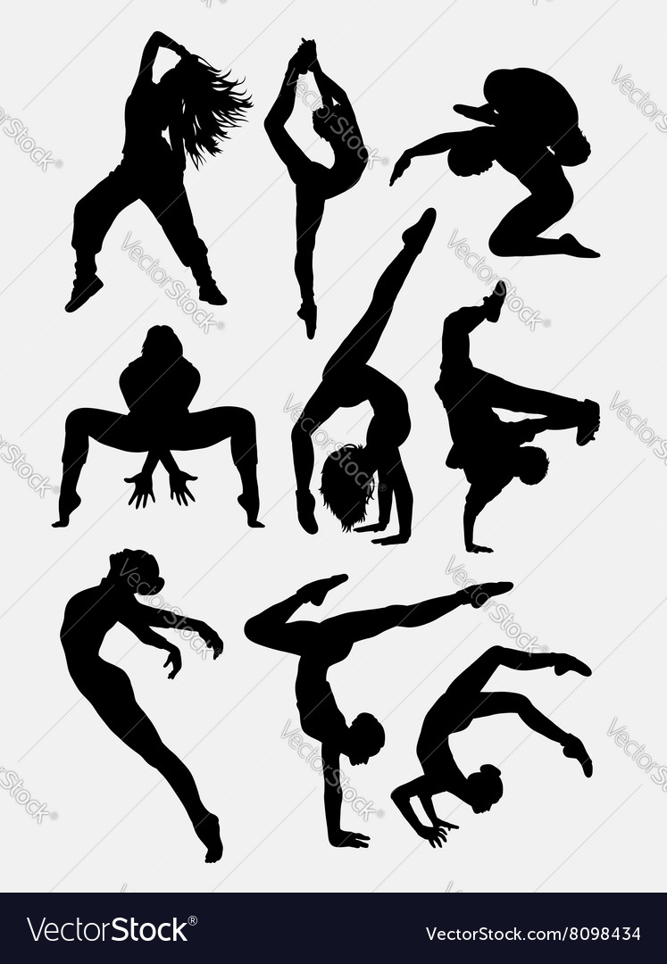 Beautiful dancer performing silhouette vector