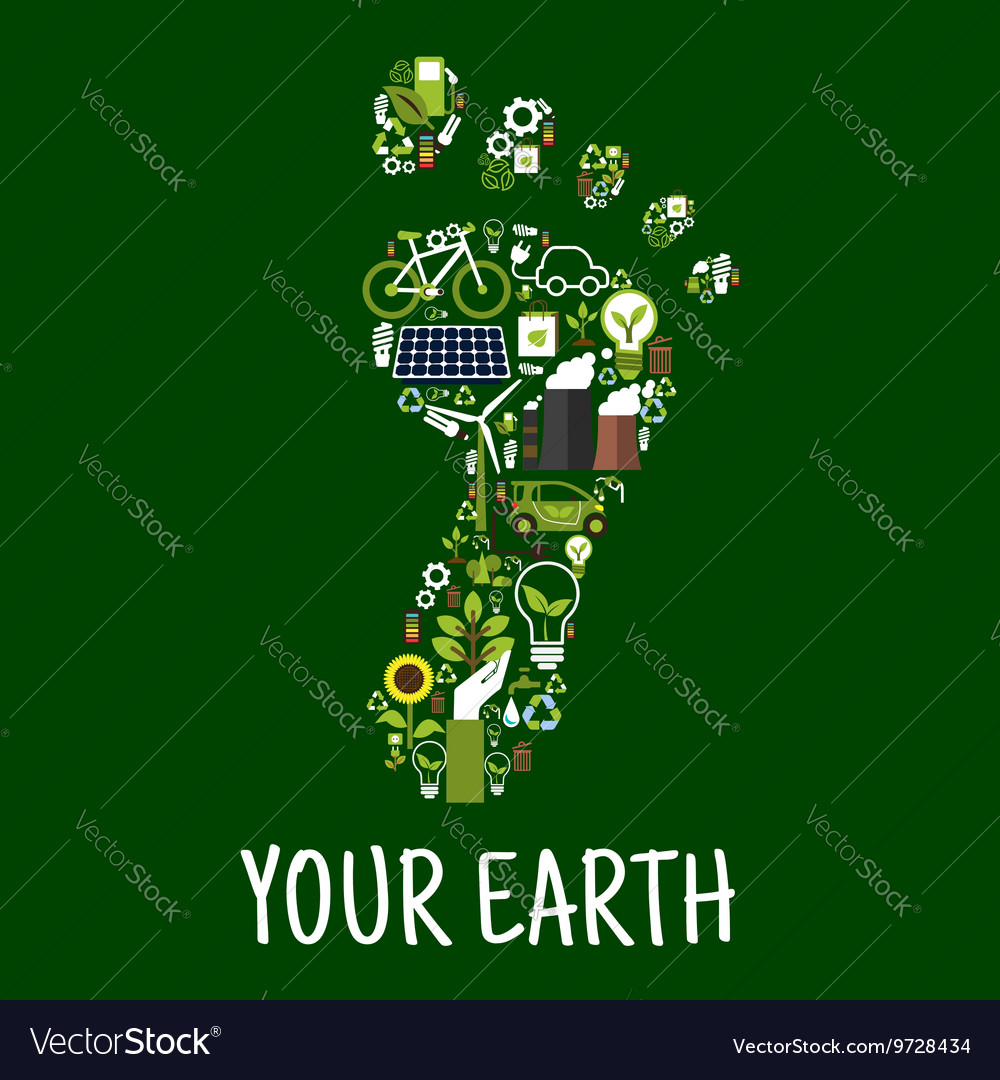 Footprint symbol with flat ecological icons vector