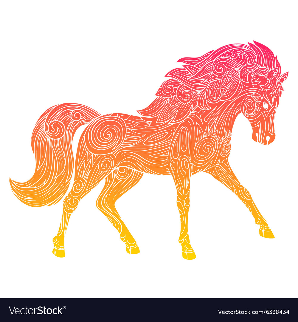 Wild horse gradient ornament ethnic vector