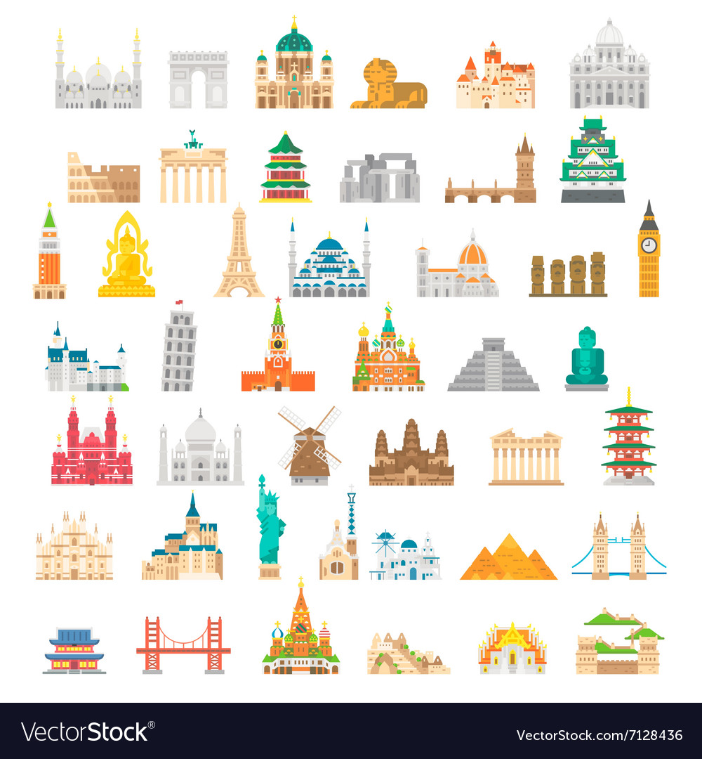 Flat design famous landmark set vector