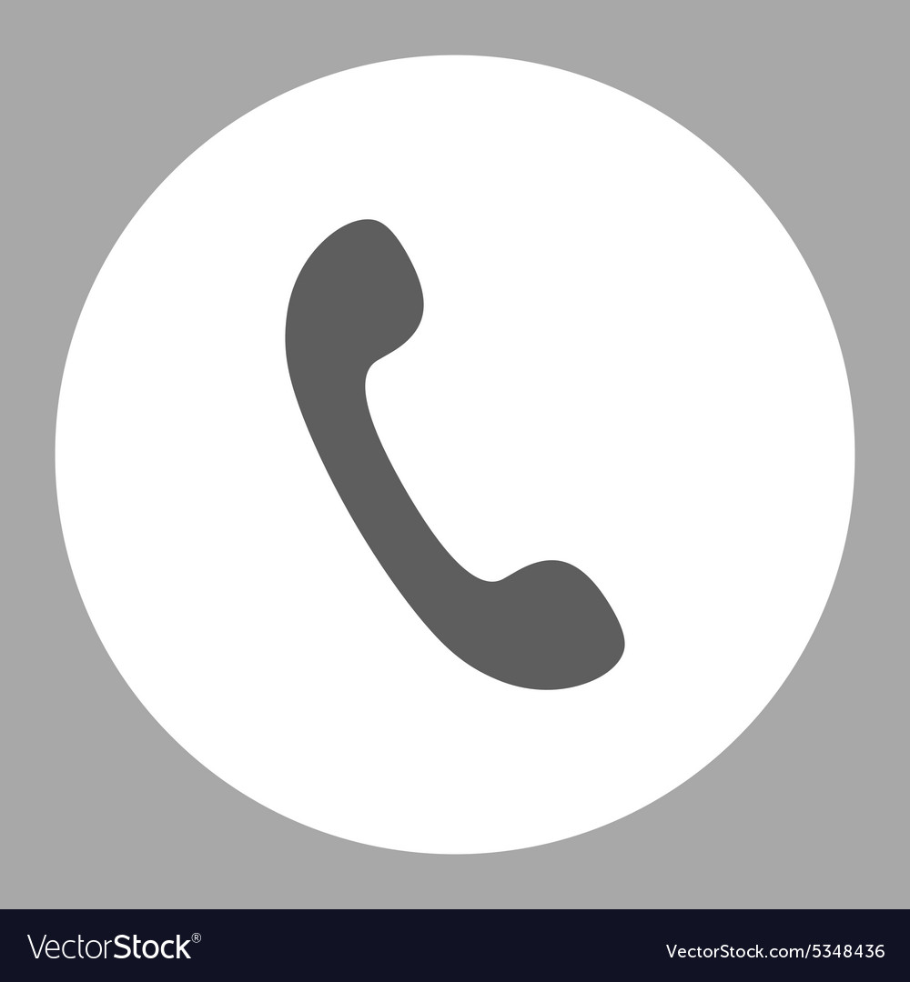 Phone flat dark gray and white colors round button vector